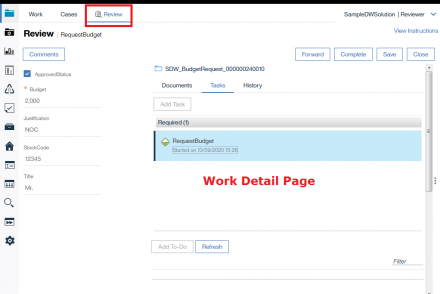 open work detail page after create a case